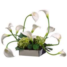 Calla Lilies and Hydrangeas in Ceramic Dish Faux Flowers