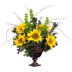 Sunflowers and Protea in Urn Container Faux Flowers