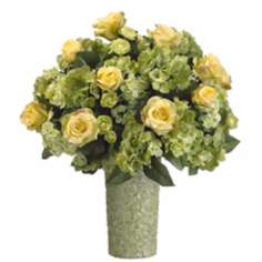 Roses and Hydrangeas in Ceramic Vase Faux Flowers