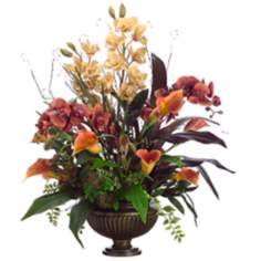 Orchids and Calla Lilies in Urn Faux Flowers