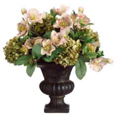 Helleborus and Hydrangeas in Urn Faux Flowers