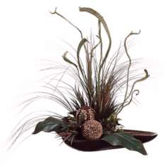 Canna Grass and Staghorn in Dish Faux Flower Arrangement