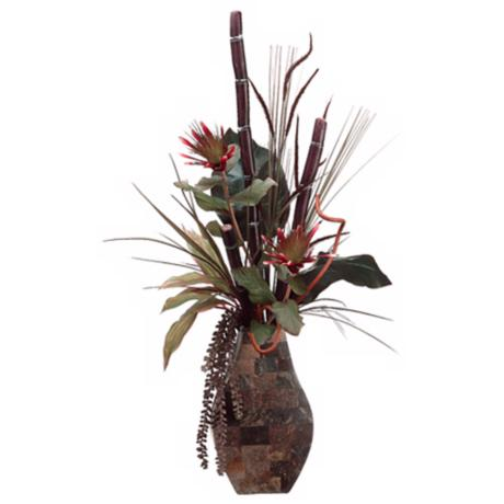 Sugar Cane and Protea in Decorative Container Faux Flowers