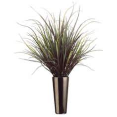 Yucca Grass in Tall Ceramic Vase Faux Plant