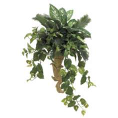 Palm and Pothos in Resin Faux Foliage Wall Sconce