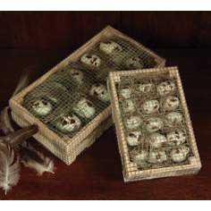 Crate Of Large Faux Quail Eggs With Grass And Wire Details