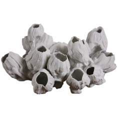 Large White Barnacle Sculpture With Realistic Rippled Detail