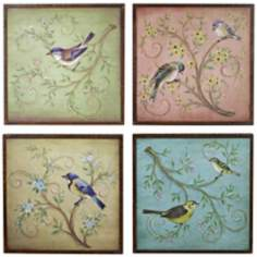 "Set of 4 17"" Square Birds On A Tree Limb"