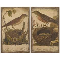 "Set of 2 Birds On Their Nest 17"" High Wall Art"