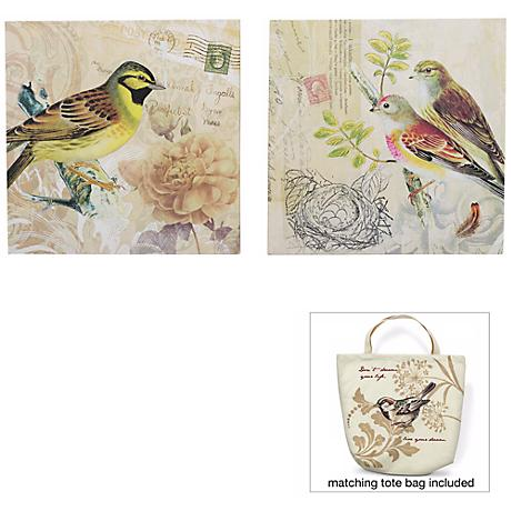 "Birds of a Feather 12"" Square Set of 2 Wall Art"