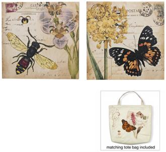 "bee and garden butterfly 12"" square set of 2 wall art (n6907)"
