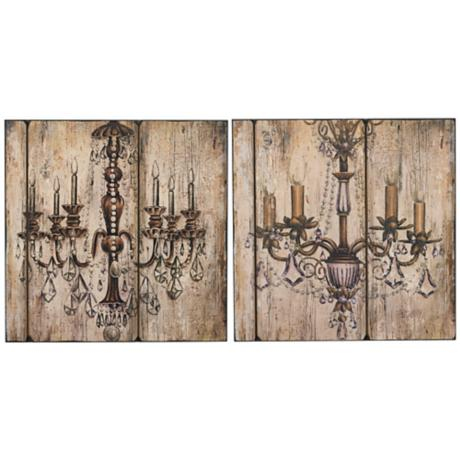 "Set of 2 Chandelier 18"" Square Wall Art"