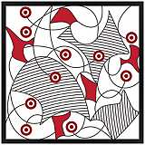"Redfusion 26"" Square Black Giclee Wall Art"