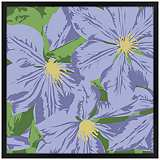 "Purple Petals 26"" Square Black Giclee Wall Art"