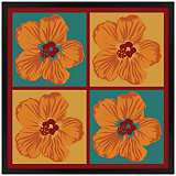 "Orange Hibiscus 26"" Square Black Giclee Wall Art"