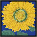"Sunflower 26"" Square Black Giclee Wall Art"