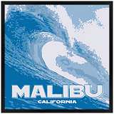 "Malibu Wave 26"" Square Black Giclee Wall Art"