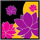 "Lotus Float 26"" Square Black Giclee Wall Art"