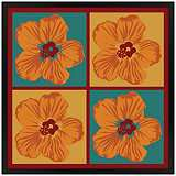 "Orange Hibiscus 31"" Square Black Giclee Wall Art"