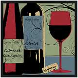 "Wine Tasting 31"" Square Black Giclee Wall Art"