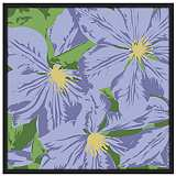 "Purple Petals 37"" Square Black Giclee Wall Art"