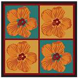"Orange Hibiscus 37"" Square Black Giclee Wall Art"