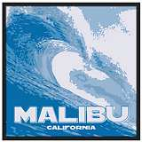 "Malibu Wave 37"" Square Black Giclee Wall Art"