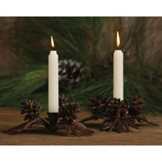 Set of Two Pine Cone Taper Candle Holders