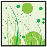 "Tall Grass 37"" Square Black Giclee Wall Art"