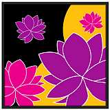 "Lotus Float 37"" Square Black Giclee Wall Art"