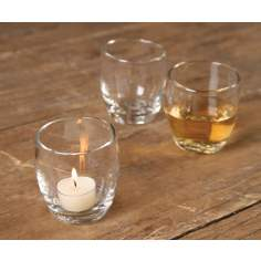 Set of 6 Glass Vino Cups for Liquids and Tea Lights