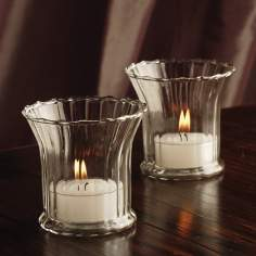 Set of 8 Scalloped Clear Glass Votive Candle Holders