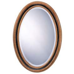 "31"" High Antique Gold and Black Oval Mirror"