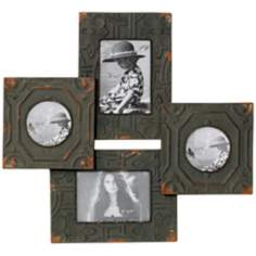 "Antique Tiles 21 1/2"" High Four Photo Frames Wall Decor"