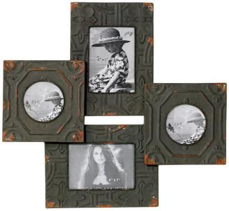 "Antique Tiles 21 1/2"" High Four Photo Frames Wall Decor (N7216)"