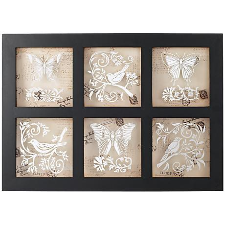 "Six Birds and Butterflies 31 1/2"" Wide Framed Wall Decor"