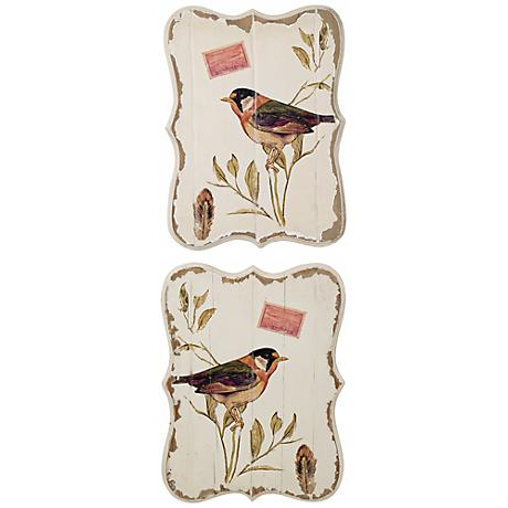 Set of 2 Botanical Bird Wooden Wall Decor