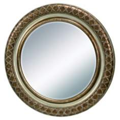"35 1/2"" High Dotted Round Bronze Mirror"
