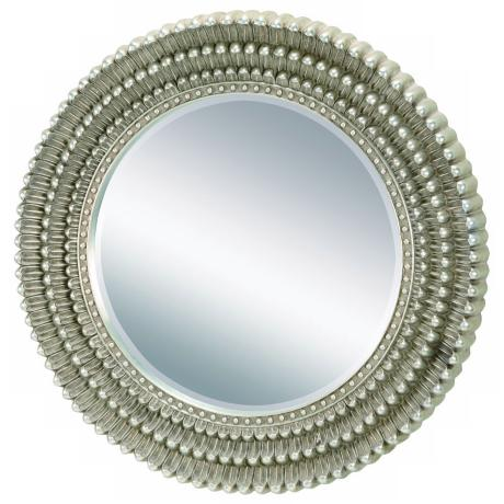 "34 1/2"" High Silver Chrysanthemum Mirror"