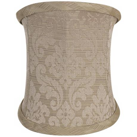 Taupe Damask Slant Lamp Shade 4.5/5x4.5/5x6.5x3.5 (Clip-On)