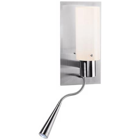 LED Duo Brushed Steel Gooseneck Wall Lamp