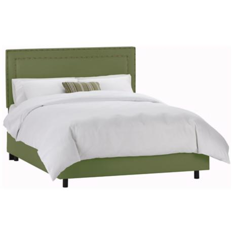 Nail Button Border Headboard Jungle Twill Bed (Twin)