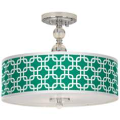 "Emerald Green Lattice 16"" Wide Semi-Flush Ceiling Light"