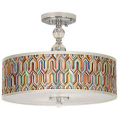 "Synthesis Giclee 16"" Wide Semi-Flush Ceiling Light"