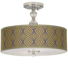 "Deco Revival Giclee 16"" Wide Semi-Flush Ceiling Light"