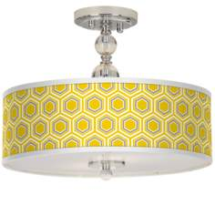 "Honeycomb Giclee 16"" Wide Semi-Flush Ceiling Light"