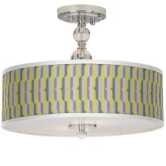 "Side By Side Giclee 16"" Wide Semi-Flush Ceiling Light"