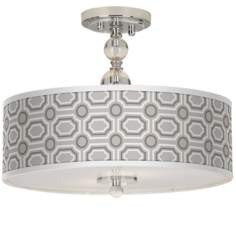"Luxe Tile Giclee 16"" Wide Semi-Flush Ceiling Light"