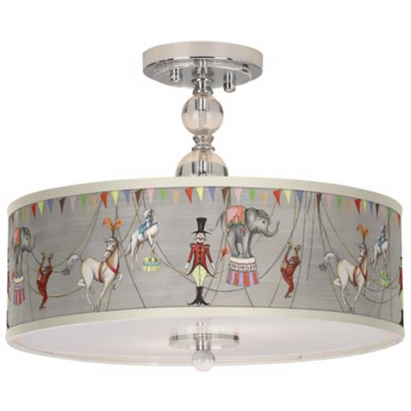 "Circus Time16"" Wide Chrome Ceiling Light"