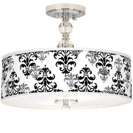 "Damask Shadow Giclee 16"" Wide Semi-Flush Ceiling Light"